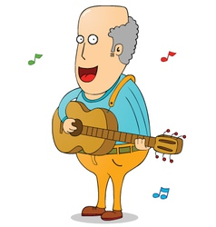 Oldman with guitar vector image