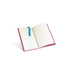 Open empty book template realistic cartoon vector