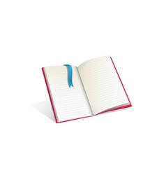 open empty book template realistic cartoon vector image