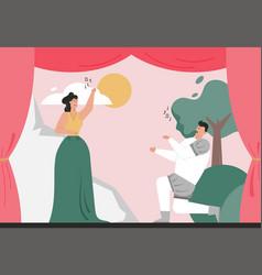Opera actors in historical costume sings aria vector