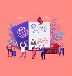 people getting visa concept travelers and vector image