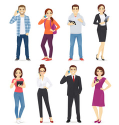 people with gadgets vector image