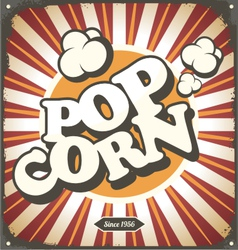 Pop corn retro design tin sign vector image