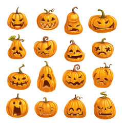 pumpkins with emotional faces for halloween party vector image