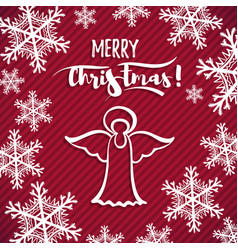 red greeting card christmas angel vector image