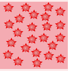 red stars pink backgraund attern paper nature vector image