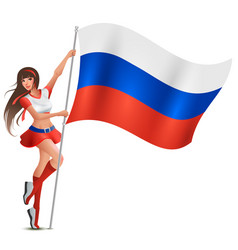 russian young beautiful woman holding flag fan vector image