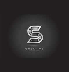 s silver steel letter monogram logo design vector image