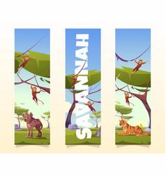 savannah animals cartoon vertical banners set vector image