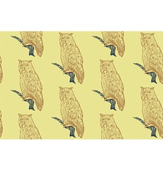 Seamless pattern of siberian eagle owl background vector image