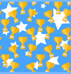 seamless pattern with champion cup vector image