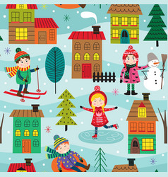Seamless pattern with kids in winter time outdoors vector