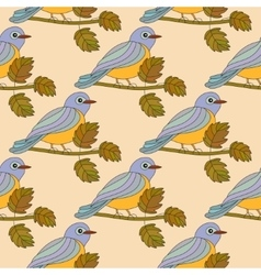 Seamless pattern with the tit on a branch vector