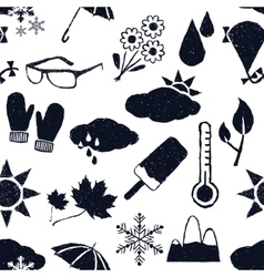 seamless weather doodle pattern vector image