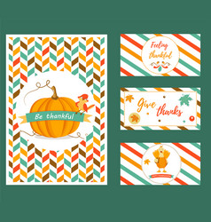 set of banners and cards for thanksgiving day vector image
