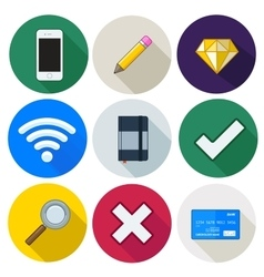 Set of icons pencil wifi diamond vector