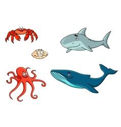 Set of marine sea life animals vector image