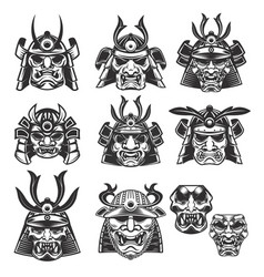 Set of samurai masks and helmets on white vector