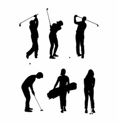 Shadow of six golfers vector