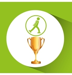 silhouette man ice skater athlete trophy vector image