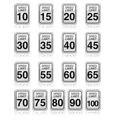Speed limit signs vector image