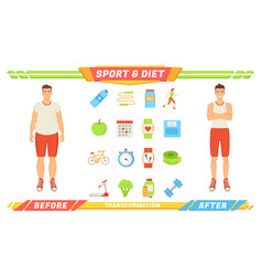 Sport and diet transformation vector