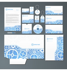 Stationery set with gears vector