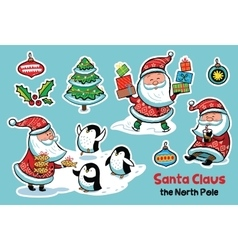 Stickers collection with cartoon Santa Claus vector image