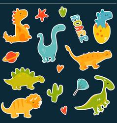 Stickers set with cartoon cute dinos vector