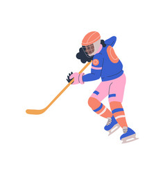 Teenager girl playing ice hockey game vector