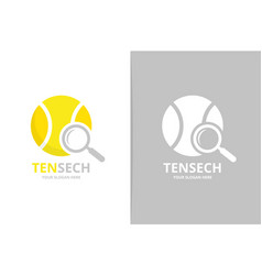 tennis and loupe logo combination game and vector image