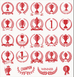 trophy and awards laurel wreath collection 5 vector image