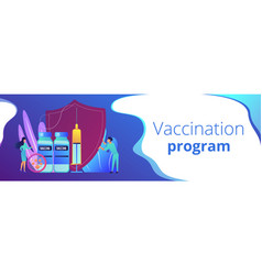 Vaccination program concept banner header vector
