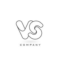 vs monogram letter logo with thin black monogram vector image