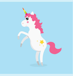 white cute magic unicorns character vector image