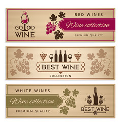 wine banners set design template vintage wine vector image