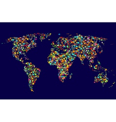 World map made of abstract colorful dots network vector image