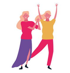 young women smiling and dancing vector image
