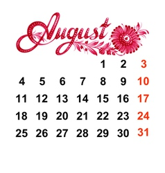 Calendar August 2014 vector image vector image