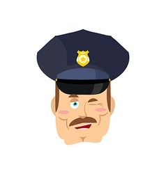 Policeman winks Good cop Mimicry smile on face of vector image vector image