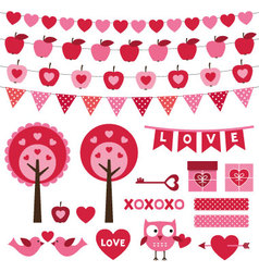 Valentines Day design elements set vector image vector image