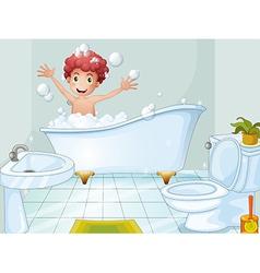 A cute boy taking a bath vector image