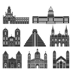 Central america american buildings on white vector