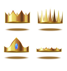 realistic detailed 3d golden crown set vector image