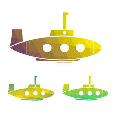 set of cartoon yellow submarine vector image