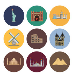 8 flat landmark icons vector image