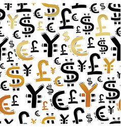 Black and gold currency signs usd pound euro and vector