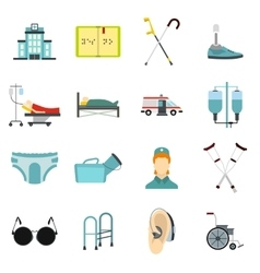 Disabled people care icons set flat style vector image