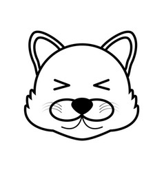outline wolf head animal vector image