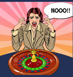 Screaming woman behind roulette table vector